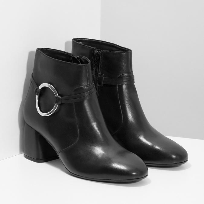 Kožená dámska členková obuv bata, čierna, 694-6665 - 26
