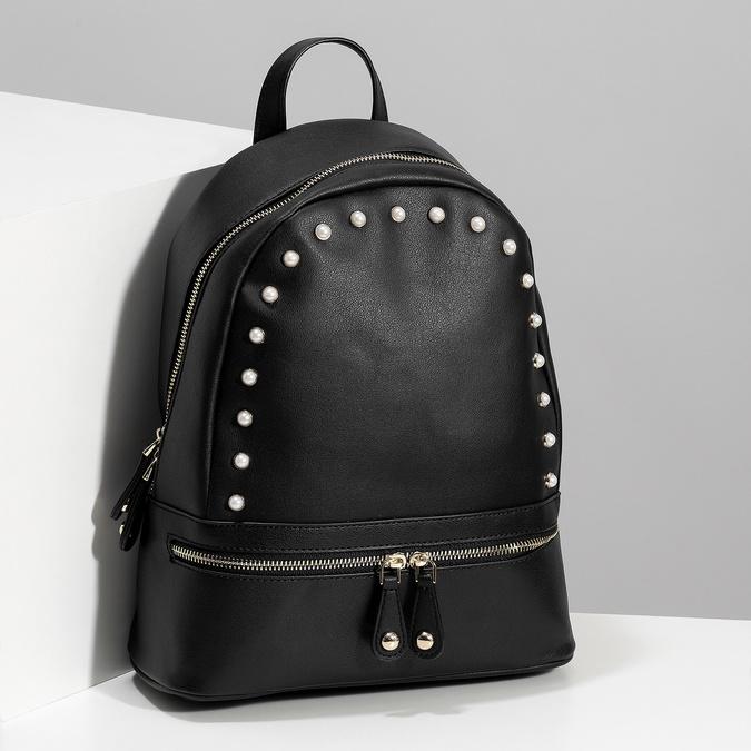 Mestský batôžtek s perličkami bata, čierna, 961-6906 - 17