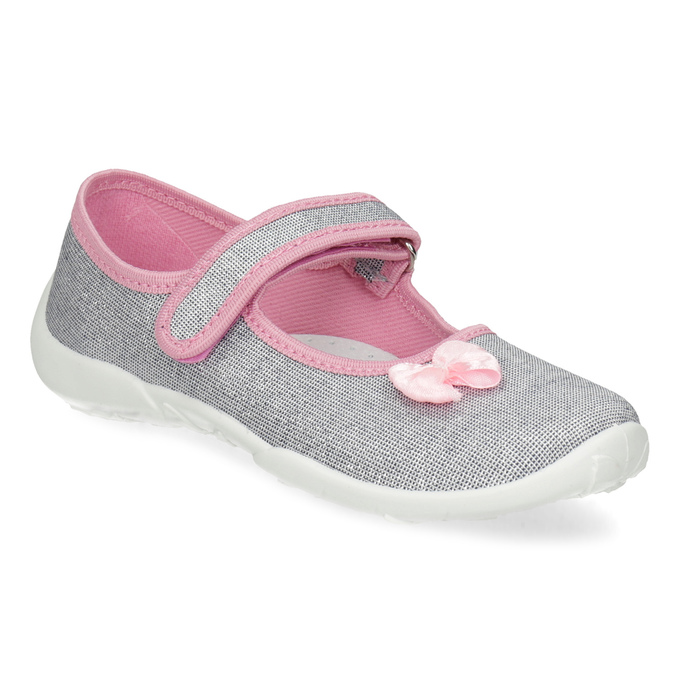Detská domáca obuv s mašličkou mini-b, strieborná, 379-1314 - 13