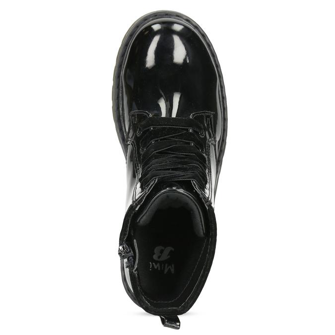 Dievčenská čierna lesklá členková obuv mini-b, čierna, 391-6259 - 17