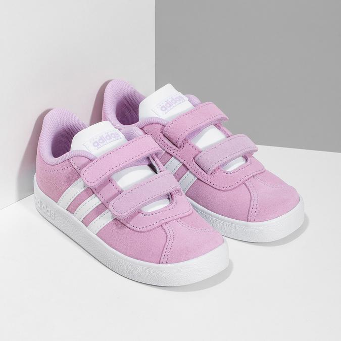 Ružové kožené detské tenisky adidas, ružová, 103-5203 - 26