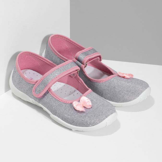 Detská domáca obuv s mašličkou mini-b, strieborná, 379-1314 - 26