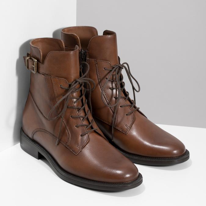 Dámske hnedé kožené čižmy bata, hnedá, 594-4674 - 26