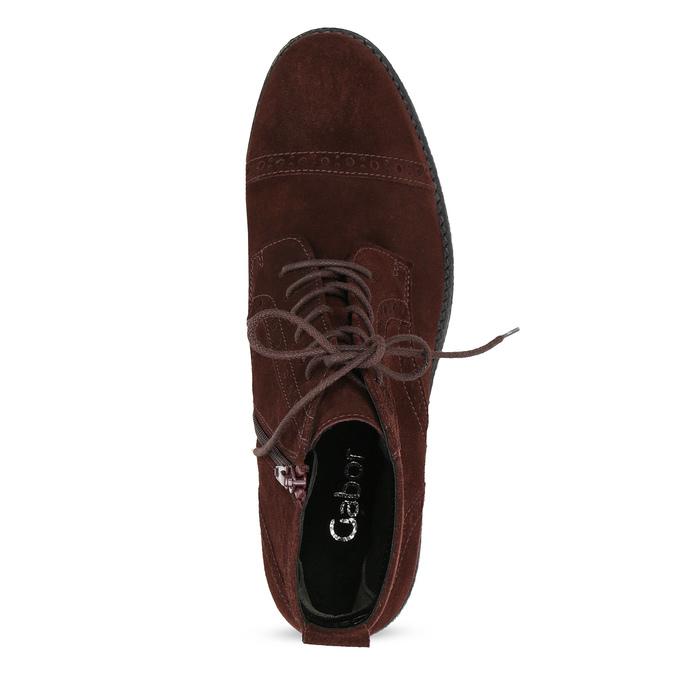 Vínová kožená členková obuv gabor, červená, 623-5029 - 17
