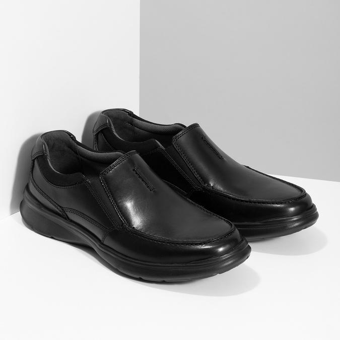 Pánske kožené čierne mokasíny clarks, čierna, 814-6072 - 26