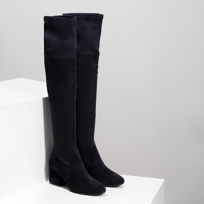 Modré dámske čižmy nad kolená bata, modrá, 793-9614 - 26