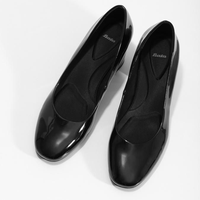 Lakované čierne lodičky pillow-padding, čierna, 721-6656 - 16