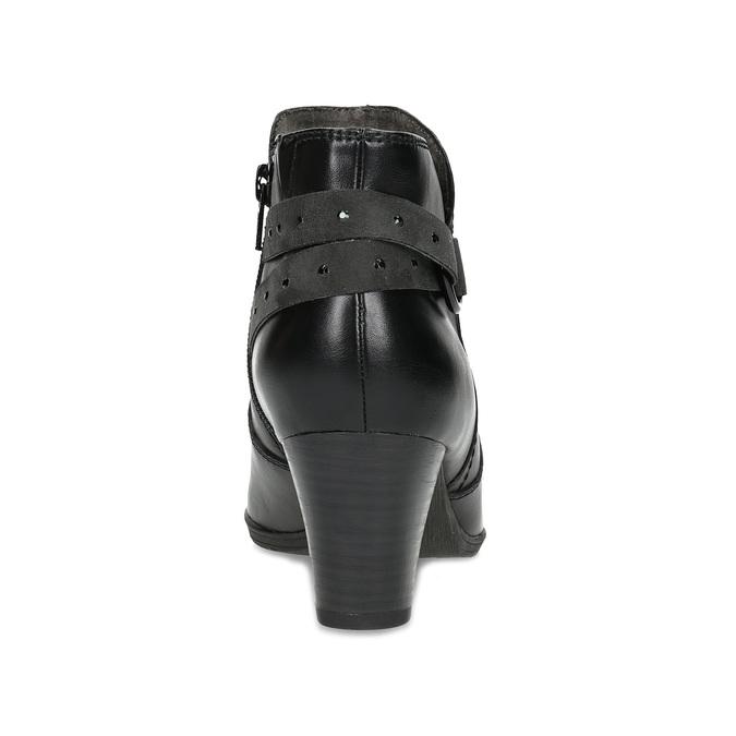 Kožené členkové čižmy s prackou, čierna, 696-6656 - 15