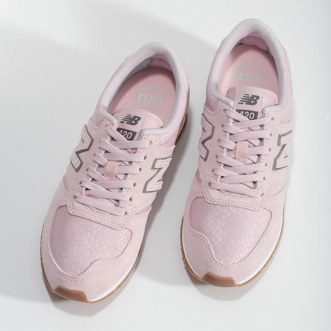 Ružové dámske tenisky z brúsenej kože new-balance, ružová, 503-5172 - 16