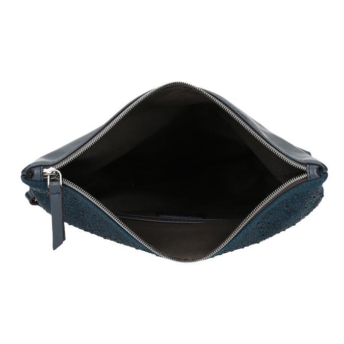 Tmavomodrá listová kabelka s klopou a kamienkami bata, modrá, 961-9910 - 15