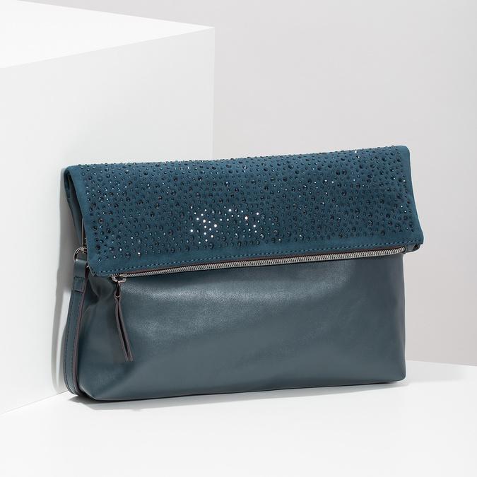 Tmavomodrá listová kabelka s klopou a kamienkami bata, modrá, 961-9910 - 17