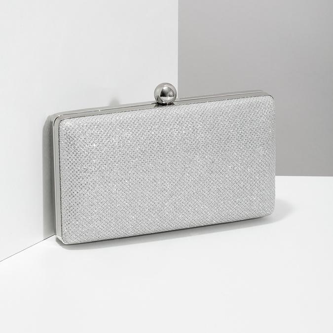 Strieborná listová kabelka pevného tvaru bata, strieborná, 969-1702 - 17