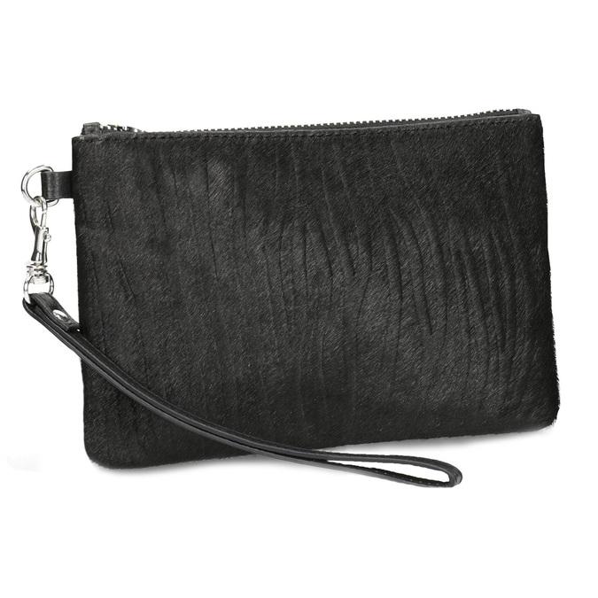Kožené vrecko s kožušinkou bata, čierna, 944-6227 - 13