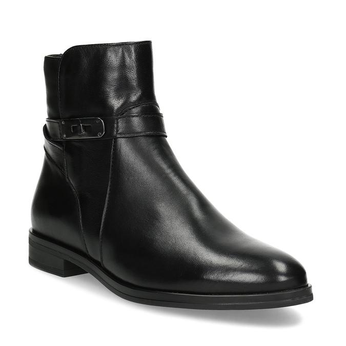 Dámske kožené čižmy s prackou bata, čierna, 594-6672 - 13