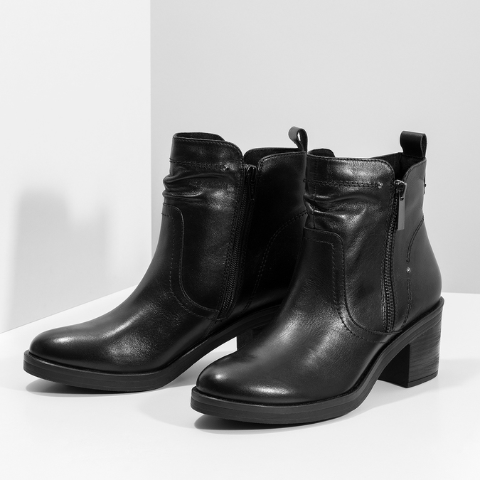 Dámska členková zimná obuv na podpätku bata, čierna, 694-6672 - 16