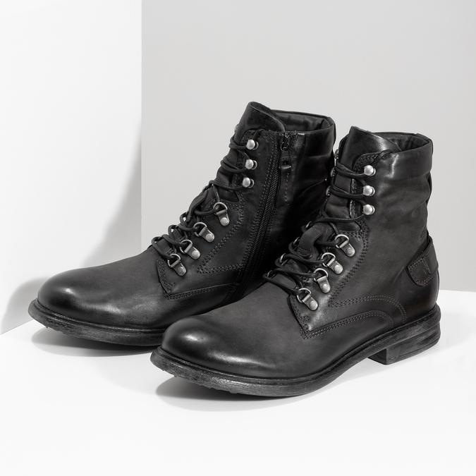 Čierna pánska kožená členková obuv bata, čierna, 896-6743 - 16