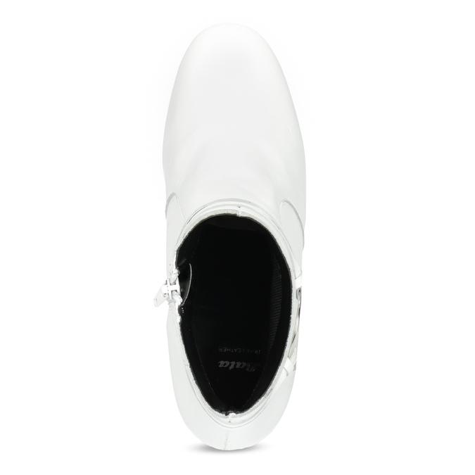 Biela kožená členková obuv s prackou bata, biela, 694-1673 - 17