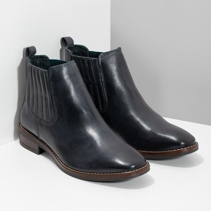 Modrá kožená dámska obuv v Chelsea štýle bata, modrá, 594-9682 - 26