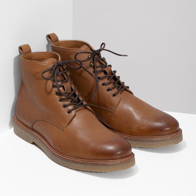 Hnedá kožená členková pánska obuv bata, hnedá, 896-3721 - 26