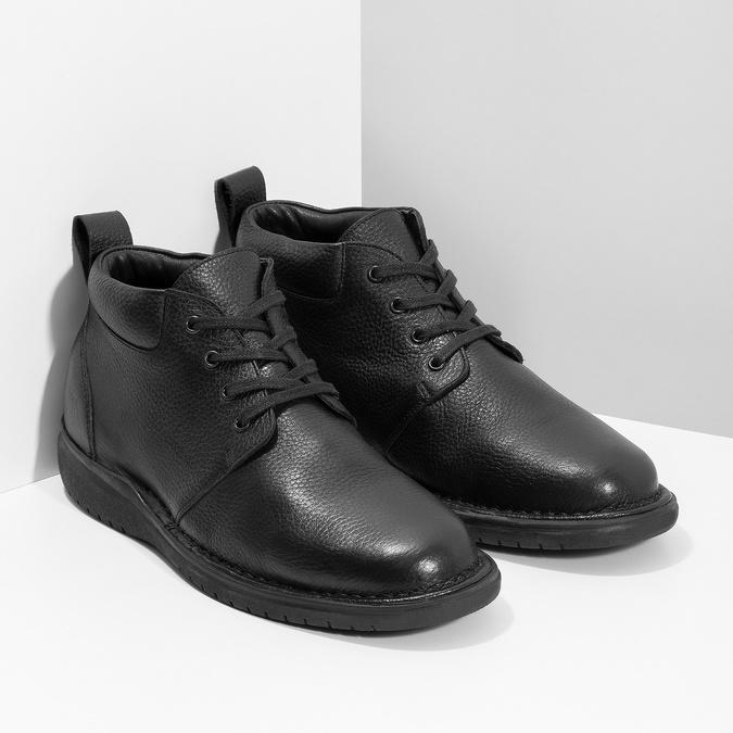 Pánska kožená členková obuv comfit, čierna, 894-6701 - 26