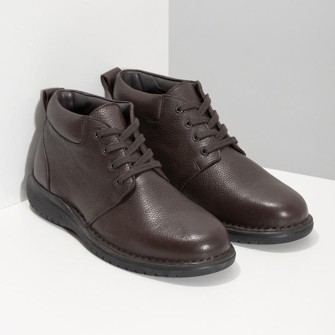 Kožená pánska členková obuv comfit, hnedá, 896-4701 - 26