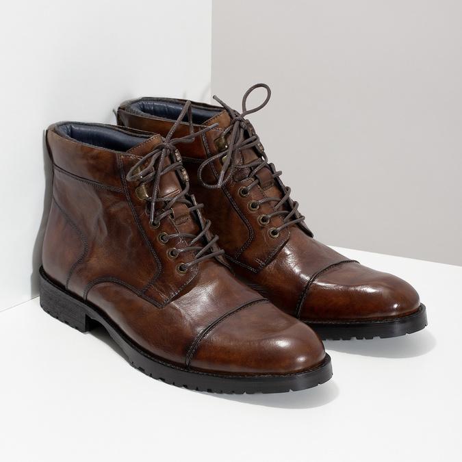 Pánska hnedá lesklá členková obuv bata, hnedá, 896-3720 - 26