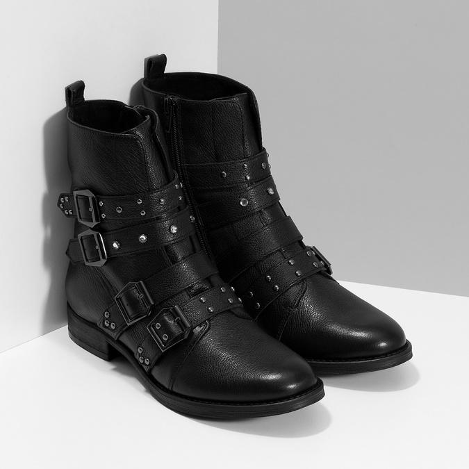 Čierne kožené čižmy s kovovými cvočkami steve-madden, čierna, 514-6025 - 26