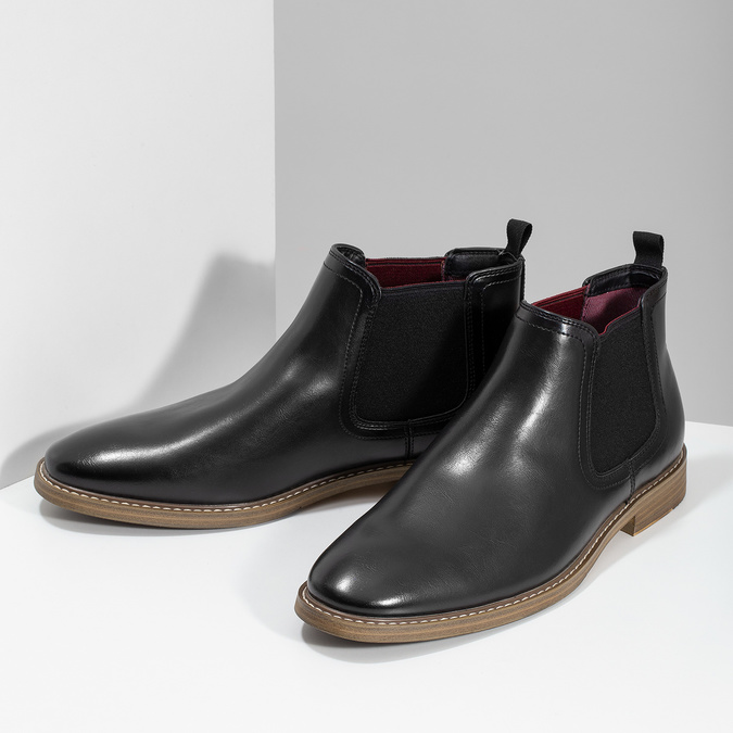 Čierna pánska Chelsea obuv bata-red-label, čierna, 821-6611 - 16