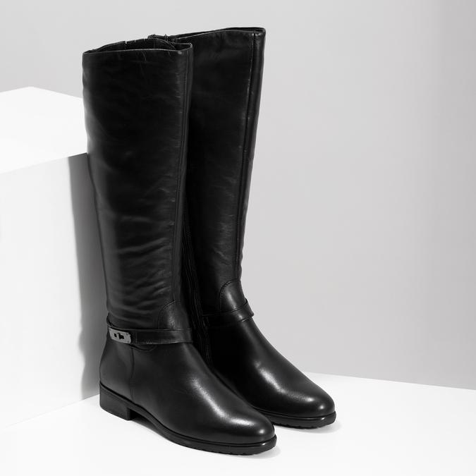 Kožené čierne dámske čižmy bata, čierna, 594-6676 - 26