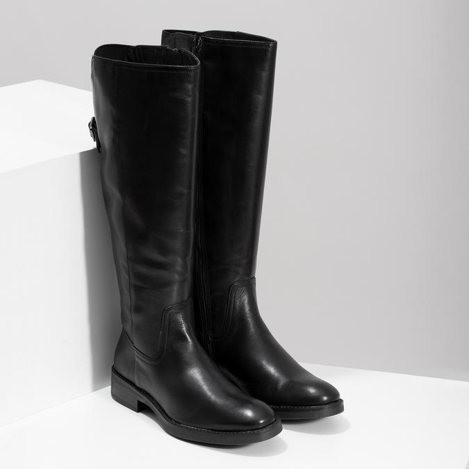 Kožené čierne čižmy s prackou bata, čierna, 594-6678 - 26