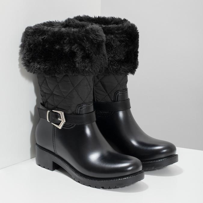 Dámske čierne snehule s kožúškom bata, čierna, 592-6602 - 26