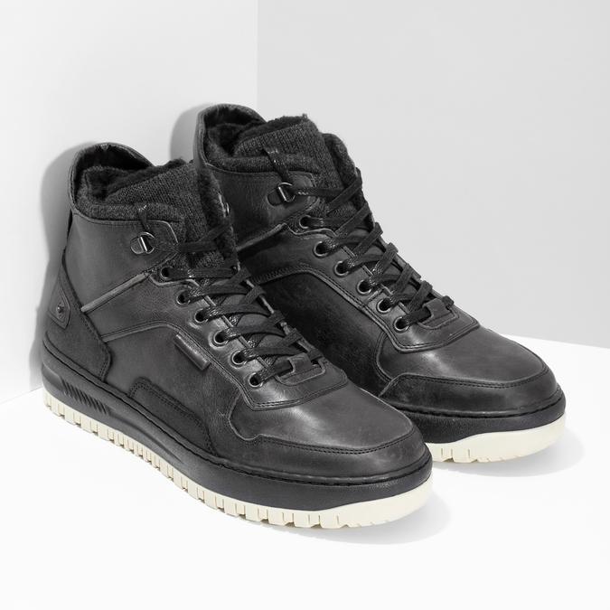 Čierna pánska kožená členková obuv bata, čierna, 896-6712 - 26