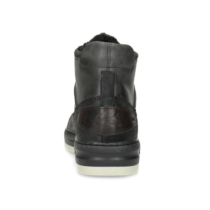 Čierna pánska kožená členková obuv bata, čierna, 896-6712 - 15