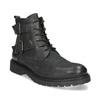 Kožená pánska členková obuv s prackami bata, čierna, 896-6715 - 13