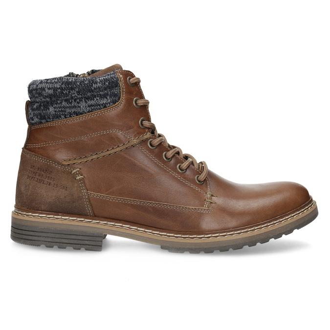 Kožená hnedá pánska členková obuv bata, hnedá, 896-3713 - 19