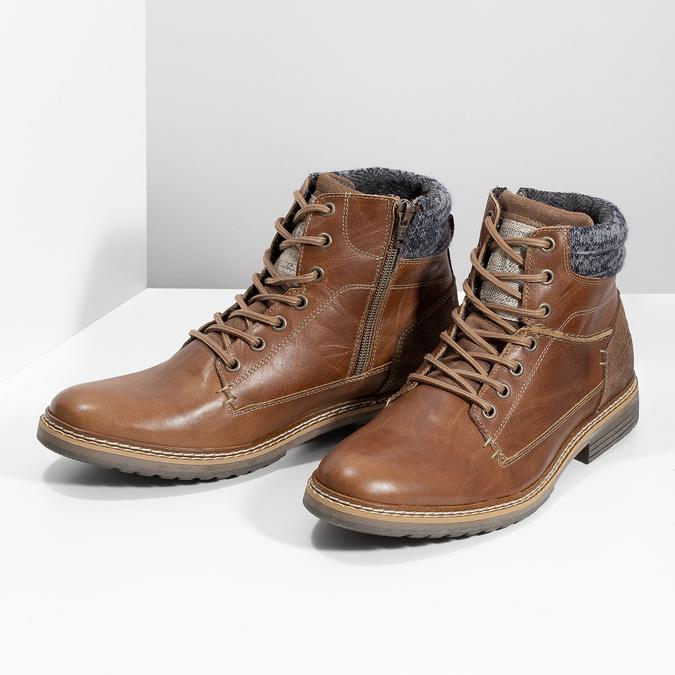 Kožená hnedá pánska členková obuv bata, hnedá, 896-3713 - 16