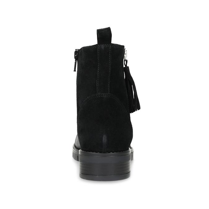 Kožená dámska členková obuv so strapcami flexible, čierna, 593-6195 - 15