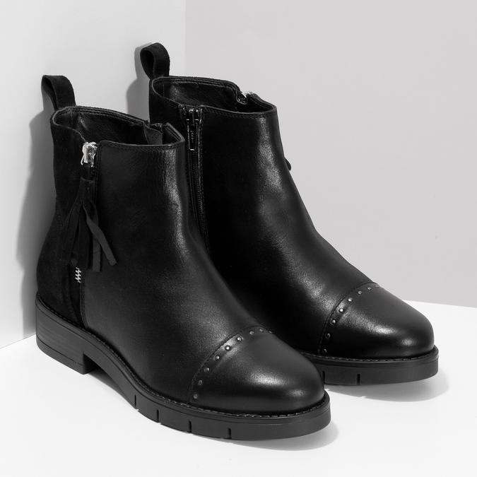 Kožená dámska členková obuv so strapcami flexible, čierna, 593-6195 - 26