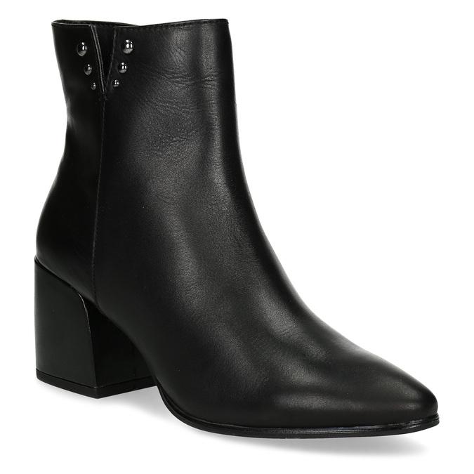 Čierna členková kožená obuv na podpätku bata, čierna, 794-6658 - 13