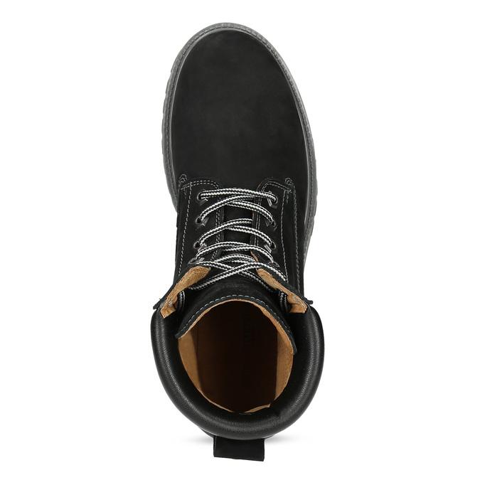 Pánska kožená členková obuv s prešitím weinbrenner, čierna, 896-6733 - 17
