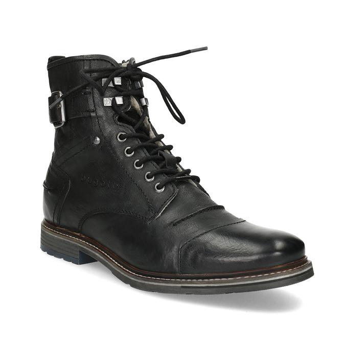 27c9fa0db1b6e Pánska kožená členková obuv s kožúškom bugatti, čierna, 826-6030 - 13