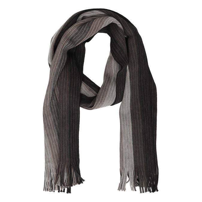 Pánsky šedý šál s prúžkami bata, hnedá, 909-8714 - 26