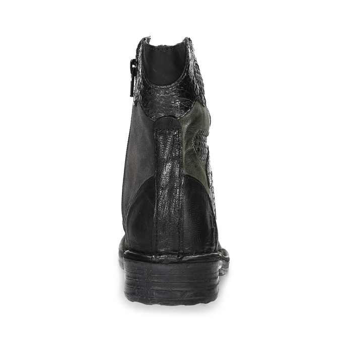 Kožená členková obuv s cvočkami bata, čierna, 596-6742 - 15