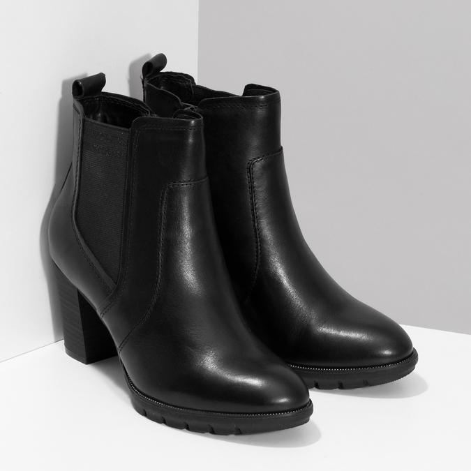 Kožené Chelsea na podpätku bata, čierna, 794-6659 - 26