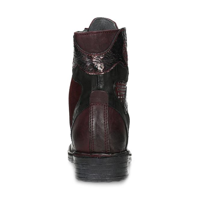 Vínová kožená dámska členková obuv bata, červená, 596-5741 - 15