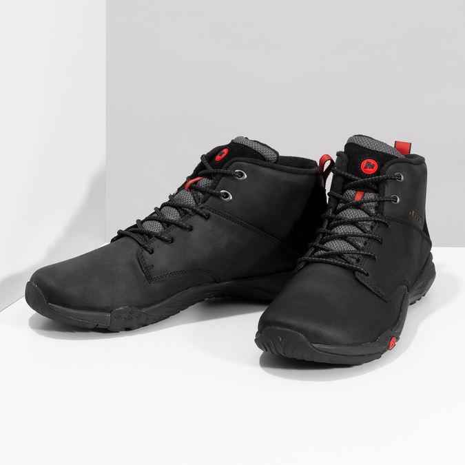 Kožená pánska členková obuv outdoorová merrell, čierna, 806-6102 - 16