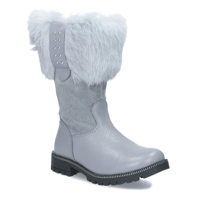 Detské kožené zimné čižmy s kožúškom mini-b, šedá, 394-2202 - 13