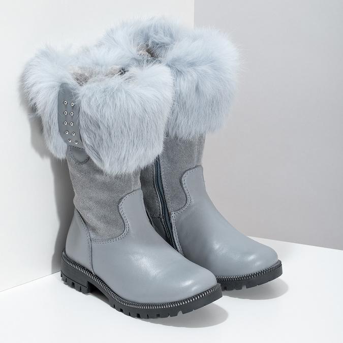 Detské kožené zimné čižmy s kožúškom mini-b, šedá, 394-2202 - 26