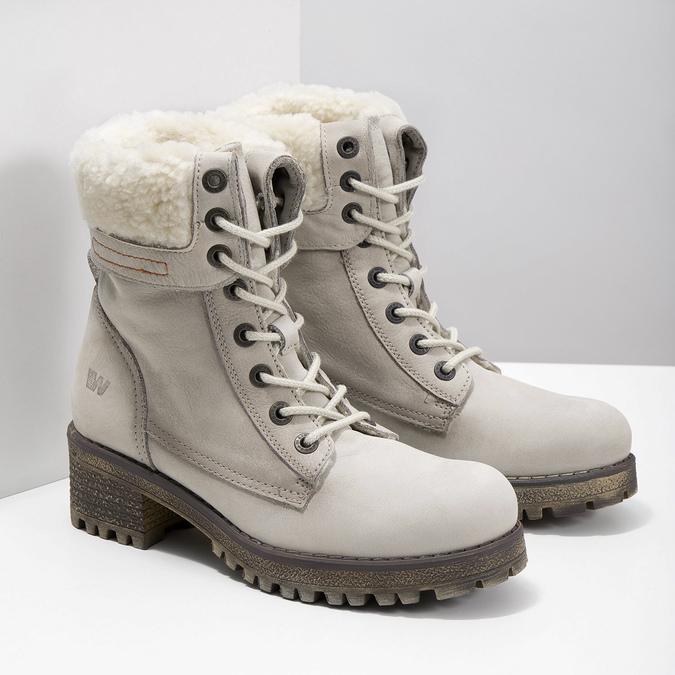 Kožená zimná obuv s kožúškom weinbrenner, béžová, 696-3336 - 26