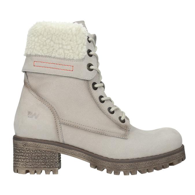 Kožená zimná obuv s kožúškom weinbrenner, béžová, 696-3336 - 19